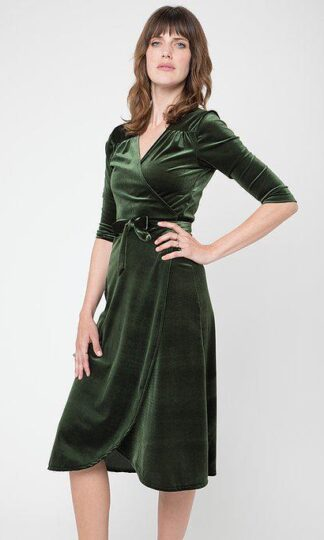 Emerald Velvet Wrap Dress Camep