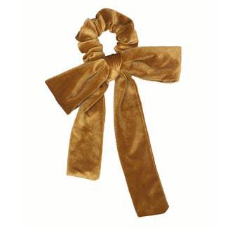 Velvet Gold Bow Tie Scrunchie