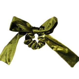 Velvet Olive Bow Tie Scrunchie
