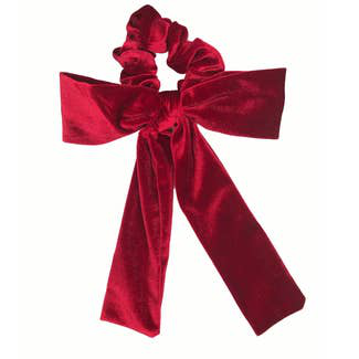 Velvet Red Bow Tie Scrunchie