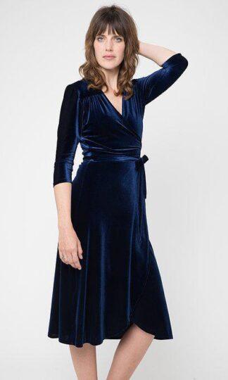 Sapphire Velvet Wrap Dress Cameo