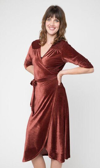 Rusty Velvet Wrap Dress Cameo