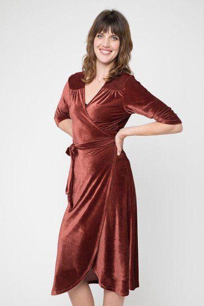 Rusty Velvet Wrap Dress Cameo