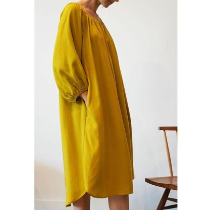 Peasant Ochre Tencel Dress by A Mente