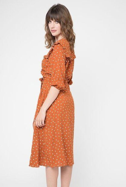 Cameo Ruffle Wrap Dress Rust Polka Dot