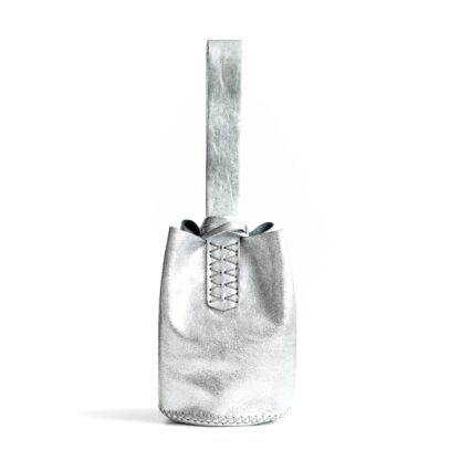 Navigli Silver Upcycled Leather Wrist Bag Volta Atelier