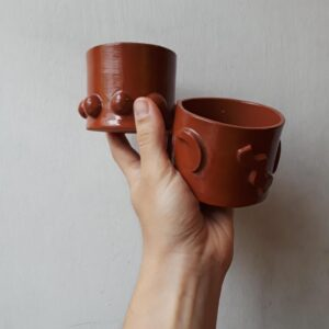 Red Whiskey Cups by Curious Clay