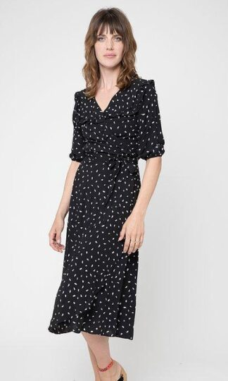 Cameo Ruffle Wrap Dress Black Brush