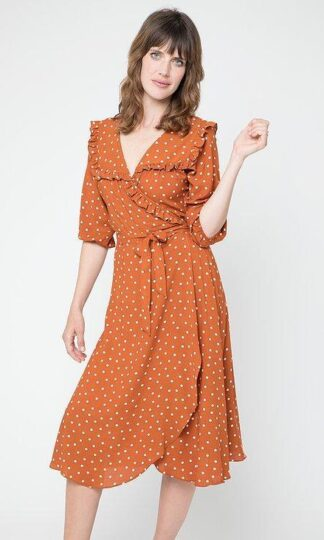 Cameo Ruffle Wrap Dress Rust Polka Dot