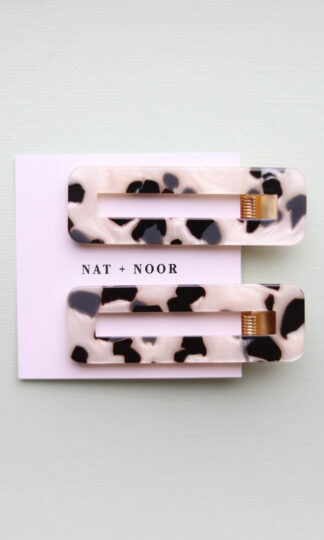Black + White Tortoise Hair Clip Duo Nat + Noor