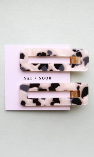 Black + White Tortoise Hair Clip Duo Nat + Noor