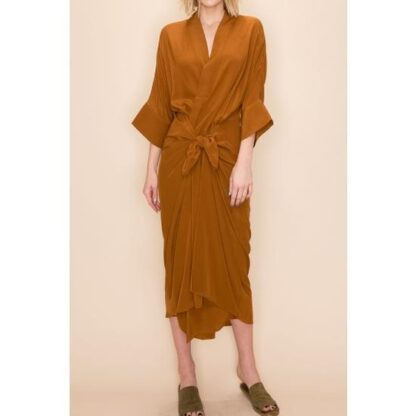 Front Tie Midi Dress by Amente in Ginger