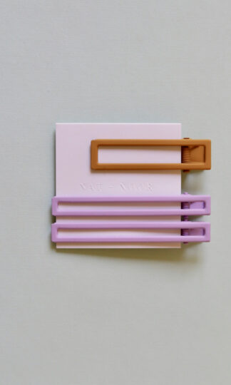 Yarrow Lilac + Mustard Hair Clip Set from Nat + Noor on card