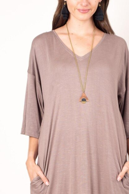 Veha T-Shirt Dress Tonle' in Taupe Zero-Waste, Ethical Fashion, Sustainable Fashion