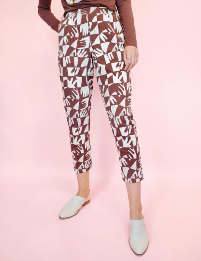 Hand Print Pleat Plush Pant in Clay by Dazey LA