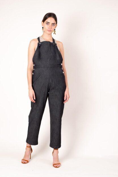 RJ Black Denim Overalls Tonle' Zero-waste, Ethical, Sustainable Fashion