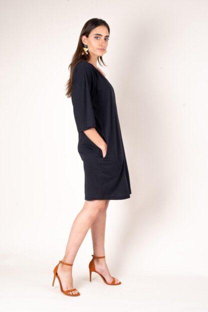 Veha T-Shirt Dress Tonle' in Black, Zero-Waste, Ethical Fashion, Sustainable Fashion