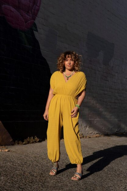 The Genie Jumpsuit The Harem Jumpsuit Cameo Clothing Mustard