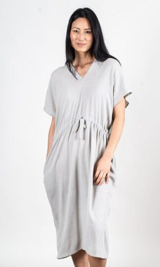 Otress midi dress in Grey Crepe from tonle sustainable fashion