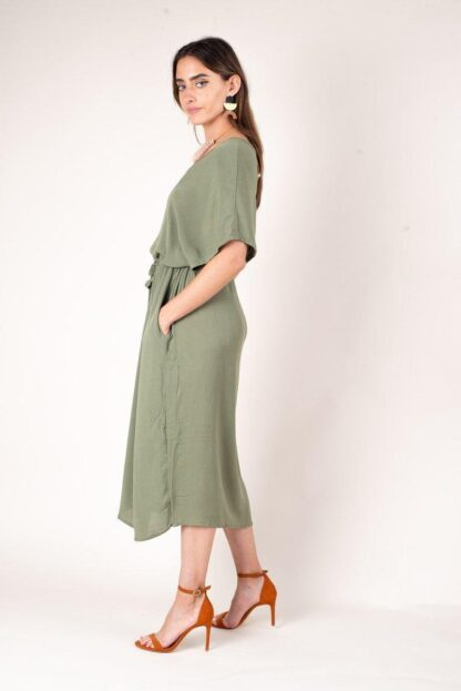 Otress midi dress in Moss Crepe from tonle sustainable fashion
