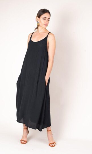Darla midi dress in Black Crepe from tonle sustainable fashion