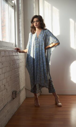 Block PRint Long Robe Maelu Designs Alma Print